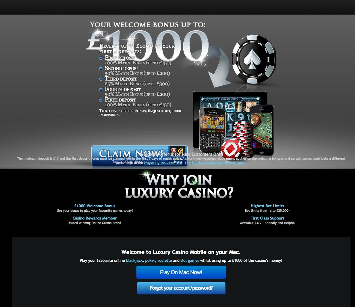 luxury casino minimum withdrawal